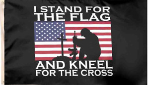 3x5FT I Stand For the Flag and Kneel for the Cross Jesus Patriot Christian Decor