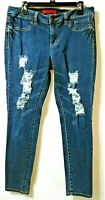 Elle Womens Size12R) Distressed Skinny Ankle Jeans Stretch