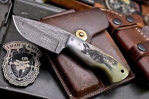 CFK Handmade 1095 Custom CHIEF & DEER Scrimshaw Bone Small Hunting Skinner Knife