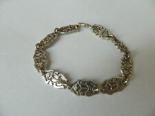 "Egyptian Sterling Silver Flat Scarab Oxidized Bracelet 8.5""  # 208"