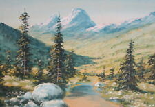 Vintage gouache painting mountain forest landscape signed