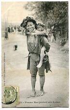 CARTE POSTALE CHINE  TONKIN FEMME MAN PORTANT SON ENFANT 1906