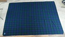 VTG PENDLETON Virgin WOOL Blanket Green Blue Black Plaid USA Made