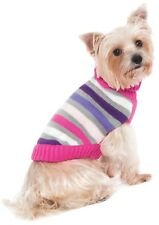 Stripe Turtle Neck Sweater for Dog - M - Keep nice warm in winter weather PINK
