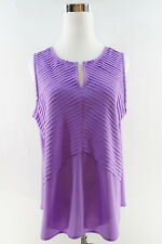 THE LIMITED Sleeveless Pleated V Neck Blouse Size L Purple