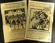 "Yugioh ""Exodia Necross&Contract with Exodia"" one Set Custom Golden Metal Cards"
