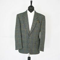 Amazing Quattro Harris Tweed Vintage Blazer Blue / Green Dogtooth 44R