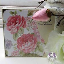#10802 Rosa Rose Pfingstrosen 4er Set Untersetzer Kork Geschenk Shabby Chic