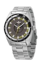 NEW ADIDAS SILVER TONE STAINLESS STEEL WITH BLACK&YELLOW  DIAL MEN WATCH-ADH1925