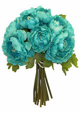 TIFFANY BLUE TEAL  ~ RANUNCULUS Bouquet Bridal Silk Wedding Flowers Centerpieces