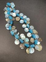 16 inch mother of pearl blue choker cha-cha charms necklace