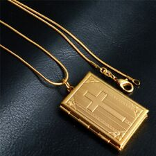 Locket Pendant Necklace Cross Snake Chain Necklace Men Women