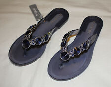 Holster HST206CMB Womens Embellish Clear Midnight Blue Jelly Sandals Size 7 / 38