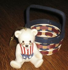 "Lenox ""Teddy'S 100Th Anniversary"" Patriotic Teddy Bear Christmas Ornament+Basket"