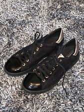 GOOD CONDITION GEOX LACE TRAINERS BLACK & GOLD - 39 6