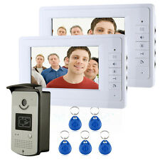 "NEW 7"" Home Video Intercom Door phone System With 2 White Monitors + 1 IR Camera"