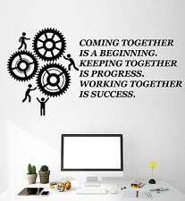Vinyl Wall Decal Teamwork Quote Office Motivation Gears Stickers Murals (ig4716)