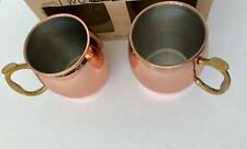 2 Smooth Moscow Mule Mugs Copper Stainless Steel Beer Coffee Milk Cup 16 Oz NIB