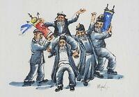 Vintage Orthodox Hasidic Jewish Hebrew Men Dancing by Moyal J Watercolor Print