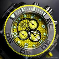 Invicta Sea Hunter 58mm Yellow Chronograph Black Steel Swiss Made Watch New