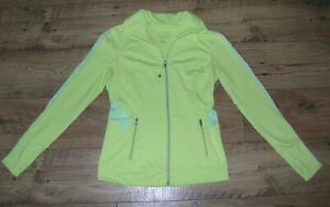 GREAT WOMENS TANGERINE YELLOW FULL ZIP ATHLETIC TRACK JACKET SIZE S SMALL