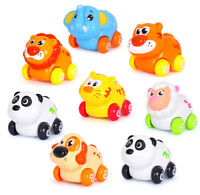 8PCS Early Education Baby Toys Pull and Go Head Moving Animal Paradise Zoo Sets