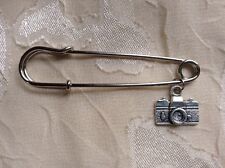 NEW Silver Camera Large Safety Pin Brooch Cute Jewelry Hippie Unique