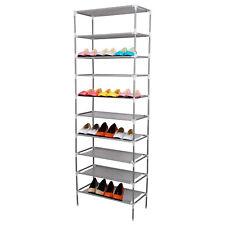 10 Tier Adjustable Shoe Storage Shoe Rack Organiser Shelf Easy Assemble