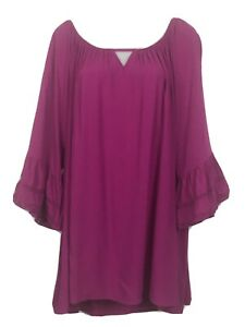 Beme 24 tunic top fuchsia pink boho flare sleeve casual festival comfort womens^