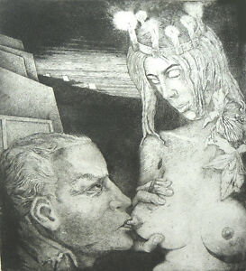 """""""At the """"Yes"""" Well""""-engraving/etching by Henryk Fantazos 11x9  edition size 100"""