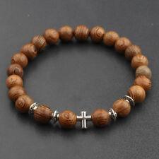Fashion Women Men 8mm Wood Beads An Crown Energy Yoga Reiki Bracelets Gift