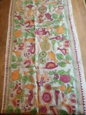 More details for vintage hand embroidered silk bengali kantha table runner red green yellow
