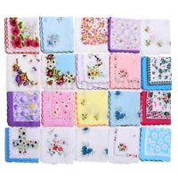 20Pcs Women Lady Cotton Vintage Floral Flower Print Handkerchief Pocket Hanky
