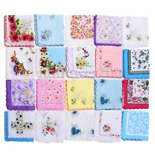 20Pcs Women Lady Cotton Vintage Floral Flower Print Handkerchief Pocket Hanky