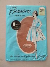 Bonalure Seamless Stockings/Nylons-Neutral Beige- Size 10 - 1 pair-Stretch Top