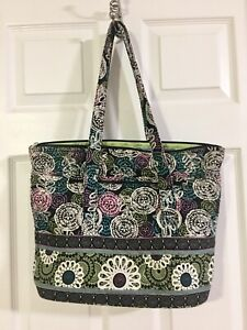 Marie Osmond Quilted Tote Bag Large Paisley Purse Outside Pockets Zippers