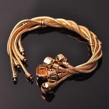 Platinum/Gold Snake Chain Bracelet Plain Clasp Fit European Beads Charm Jewelry