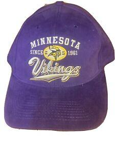 NEW Vintage Minnesota Vikings NFL Purple Hook N Loop Hat Cap NWT Game Day