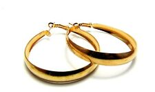 Gold Shiny Wide Thin Hoop Earrings Lightweight Metal Hoops