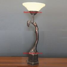 Art Deco Lamp, Bronze Look Table Lamp, Round Glass Shade, Lady Lamp