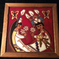 JENNIFER ROCHE Hand-Painted Southwest Adobe Art Tile Butterfly Maidens Signed!