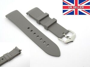 Curved End Grey Premium Waterproof Silicone Rubber Watch Strap Band 20mm 22mm