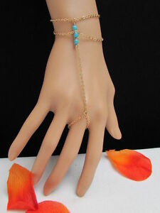 WOMEN GOLD FASHION STRANDS HAND CHAINS TURQUOISE BLUE BEADS BRACELET SLAVE RING