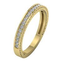 Anniversary Wedding Ring Band VVS1 E 0.35 Ct Natural Diamond Pave Set 14K Gold