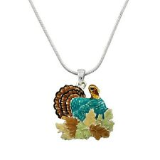 """Turkey Charm Pendant Fashionable Necklace - Hand Painted - 17"""" Chain"""