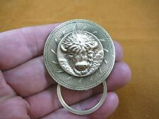 (E-564) Buffalo head on round swirl brass Eyeglass pin pendant ID badge holder