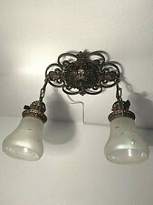 1920-30s Cast Iron 2 Light Flush Mount Fixture