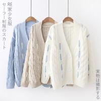 Japanese Styles Lolita V Collar Twist Knitted Sweater Sweet Long Sleeve Coat New
