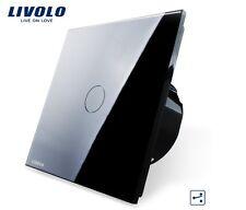 SCHWARZ GLAS Touchscreen Wechselschalter mit LED Livolo C701S-12 SUPER Qualität!