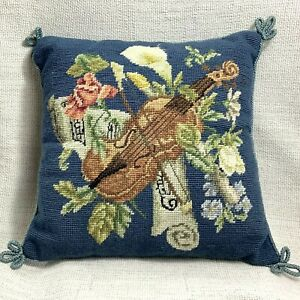 Vintage Needlepoint Cushion COVER Music Violin Hand Sewn Blue Embroidery